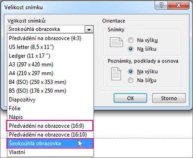 Širokoúhlá obrazovka nebo Předvádění na obrazovce (16:9)