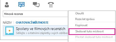 Snímek obrazovky hlavního okna chatovacích místností Lyncu snabídkou Sledovat tuto místnost