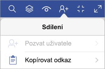Kopírování odkazu ve Visio Vieweru pro iPad