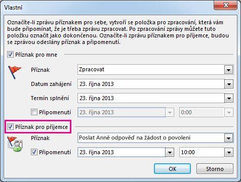 Zaškrtávací políčko příkazu Příznak pro příjemce v dialogovém okně Vlastní