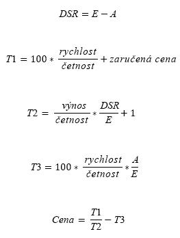 Vzorec pro výpočet CENY, kde N<=1