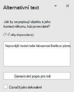 Podokno Word Win32 alternativní Text pro obrázky