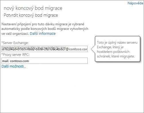 Potvrzené připojení koncového bodu Outlooku Anywhere
