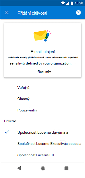 Snímek obrazovky popisků citlivosti v Outlooku pro Android
