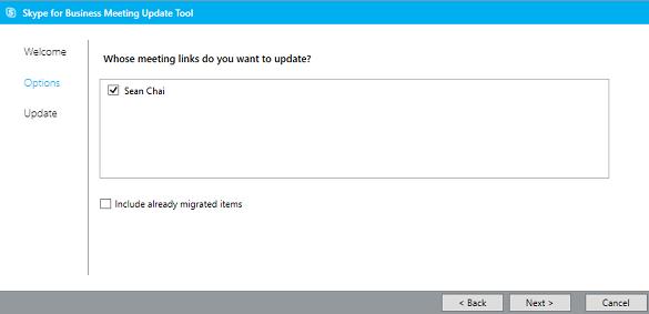Snímek obrazovky se stránkou možností a zaškrtnutým políčkem Uživatel