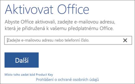 Zobrazuje okno Aktivace Office.