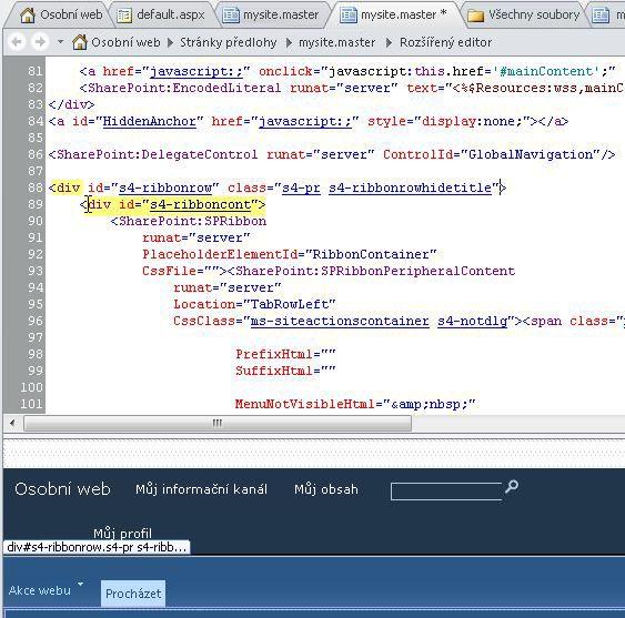 Používání značek DIV u přizpůsobování stránky předlohy osobního webu