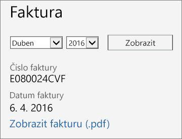 Snímek obrazovky stránky Podrobnosti účtu voddílu Faktury vCentru pro správu Office 365.
