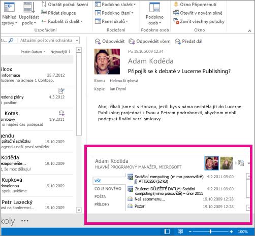Konektor aplikace Outlook pro sociální sítě po rozbalení