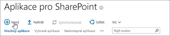 Sharepointový Katalog aplikací SPO se zvýrazněným tlačítkem Nový