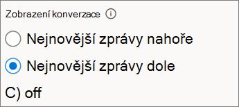 Přepínače zobrazení konverzací v Outlooku na webu