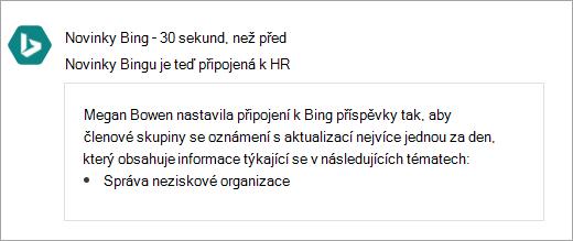 Snímek obrazovky s připojenou skupinou Yammeru Office 365 s novým připojením