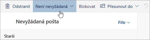 Snímek obrazovky s tlačítkem Není spam