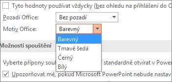 Zobrazuje možnosti motivů Office v PowerPointu 2016.