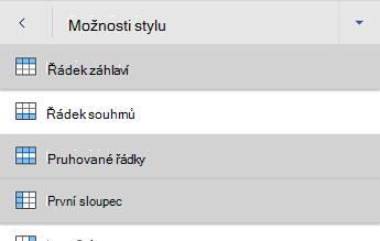 Nabídka možností stylů tabulky Wordu pro Android