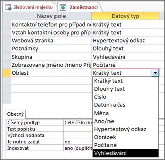 Nastavení datového typu vyhledávání pro vyhledávací pole