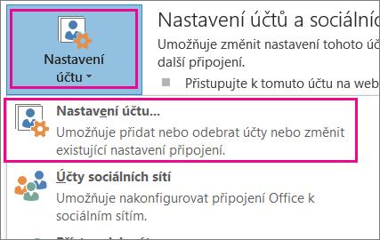 Pokud chcete odebrat účet Gmail, zvolte Soubor, Nastavení účtu, Nastavení účtu.