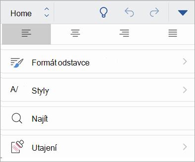 Snímek obrazovky s tlačítkem Citlivost v Office pro iOS