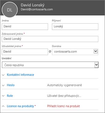 Zadání uživatelských informací do karty Nový uživatel