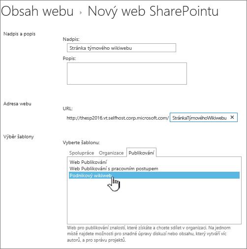 Zvýrazněná položka umožňující přidání podnikového wikiwebu
