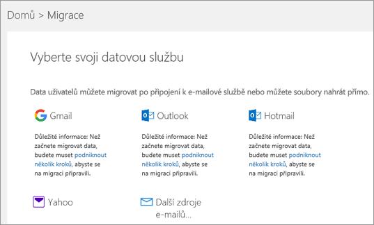 Výběr vaší e-mailové služby