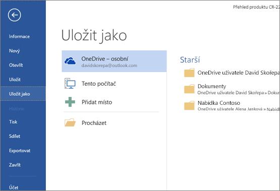 Dialog Uložit jako s OneDrivem jako výchozí možností