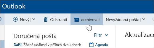 Snímek obrazovky s tlačítkem Archivovat