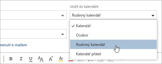Snímek obrazovky s uložit do kalendáře rozevírací nabídka