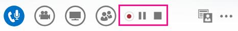 Snímek obrazovky s ovládacími prvky pro záznam