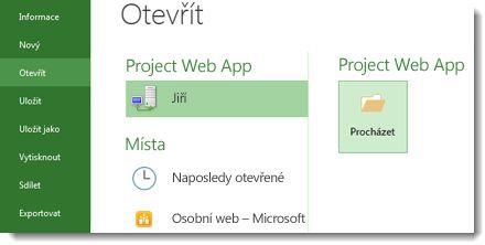 Tlačítko Procházet pro otevření souboru Project Web Appu