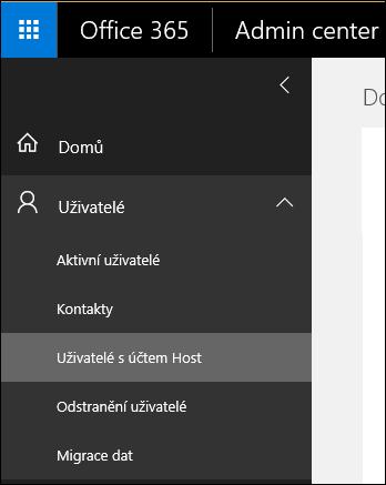 Rozbalení oddílu uživatelé v navigačním podokně ke správě uživateli Host