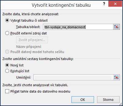 Dialogové okno Vytvořit kontingenční tabulku v Excelu