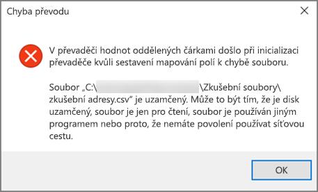 Toto je chybová zpráva, která se zobrazí, pokud soubor CSV obsahuje špatně formátovaná data.