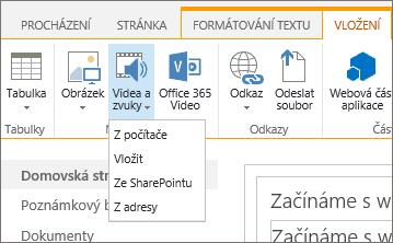 Snímek obrazovky s pásem karet v SharePointu Online. Vyberte kartu Vložit a pak možnost Video a zvuk. Pak určete, jestli chcete přidat soubor z počítače, sharepointového umístění, webové adresy nebo prostřednictvím kódu pro vložení.
