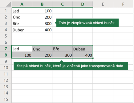 Příklad funkce Vložit transponovat