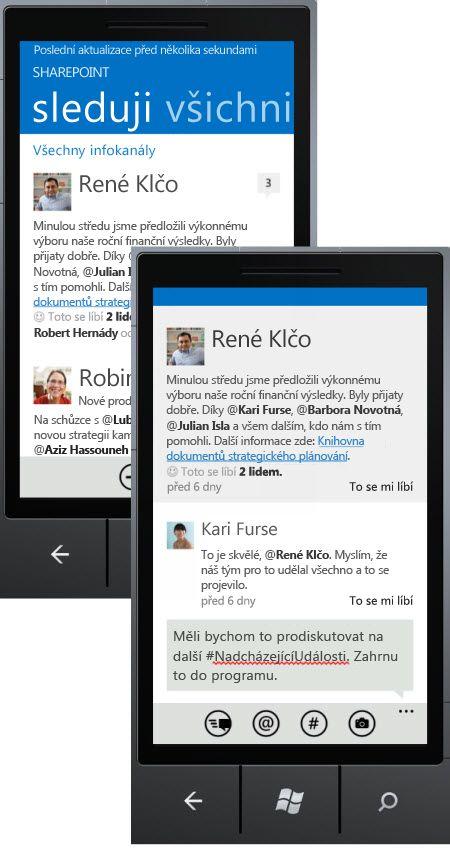 Snímky obrazovek informačního kanálu a odpověď na jeho příspěvek v SharePointu Newsfeed