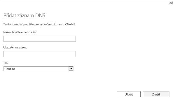 Zadejte informace pro nový záznam DNS.