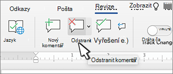 Tlačítko Odstranit komentář