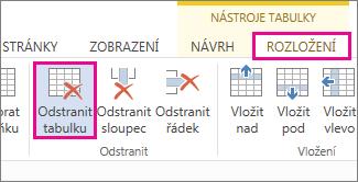 Obrázek tlačítka Odstranit na kartě Rozložení v Nástrojích tabulky