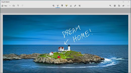 Aplikace výstřižek & s poznámkou na obecném obrázku