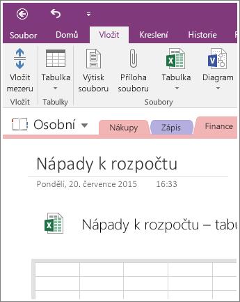 Snímek obrazovky s novou tabulkou v OneNotu 2016.