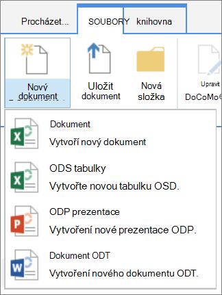 Příkaz Nový dokument v knihovně s vlastní šablony