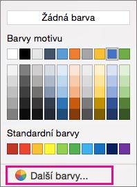 Možnosti barvy stínování barvou více zvýrazněná.