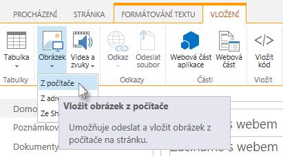 Možnost vložení obrázku z počítače