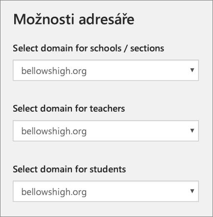 Snímek obrazovky s výběrem domény školy/oddíly, učitele a studenty ve škole synchronizace dat z