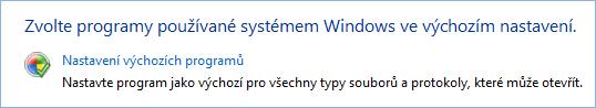 Snímek obrazovky s nastavením výchozích programů