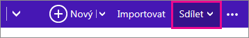 Výběr kalendáře kliknutím na Sdílet v Outlooku.com