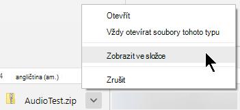 Zobrazení mu tuhle zkomprimovanou souboru, klikněte na šipku vedle názvu souboru a vyberte Zobrazit ve složce.