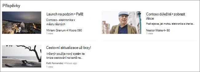 Screencap webové části příspěvky na SharePointovém webu, kde byly vyfiltrované příspěvky