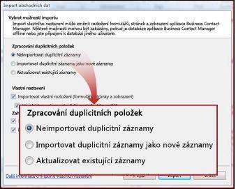 Okno importu s oddílem věnovaným způsobu řešení duplicit